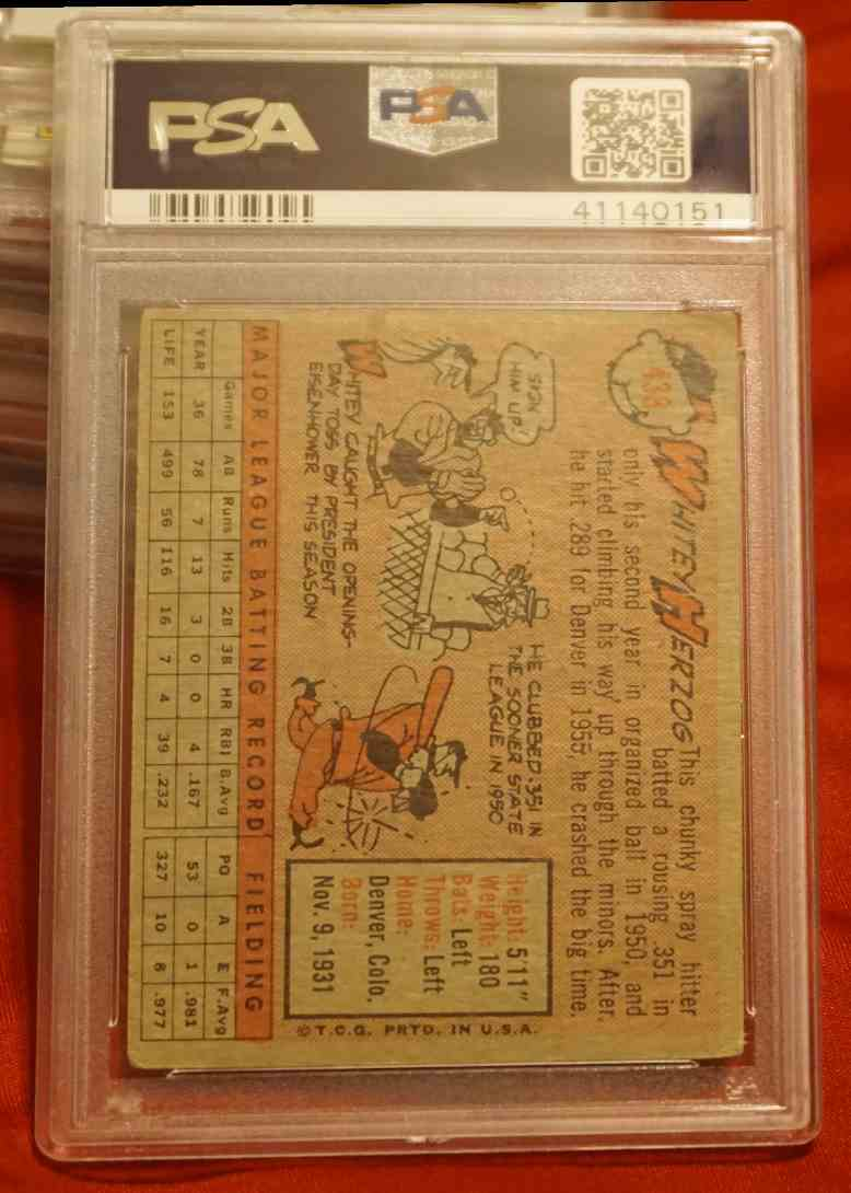 1958 Topps PSA/DNA Whitey Herzog card back image