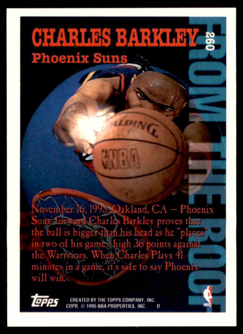 1994-95 Topps From The Roof Charles Barkley #260 card back image