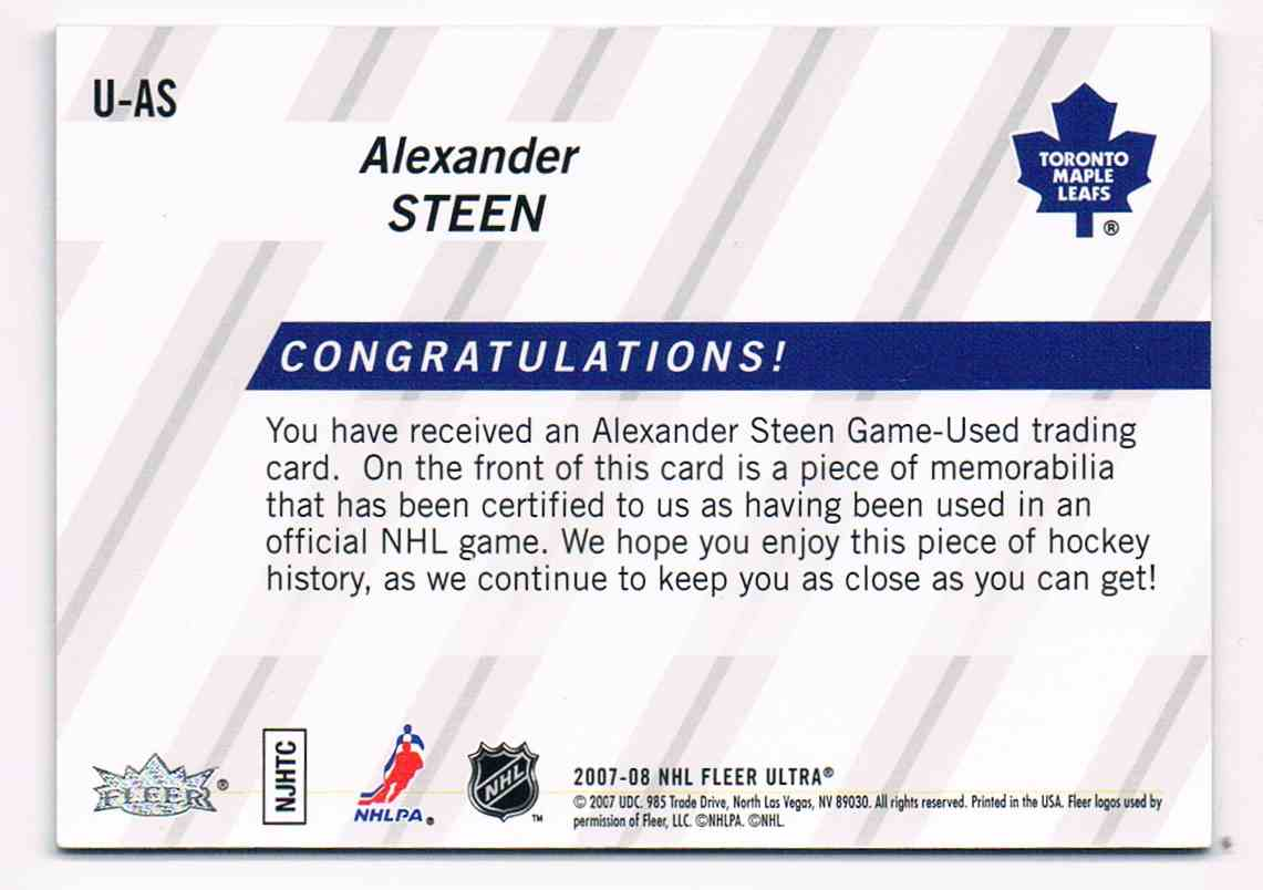 2007-08 Upper Deck Ultra Uniformity Alexander Steen #U-AS card back image