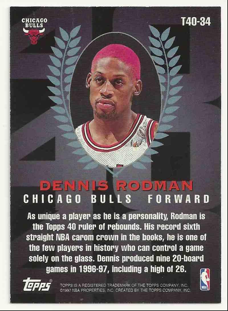 1997-98 Topps Topps 40 Dennis Rodman #34 card back image