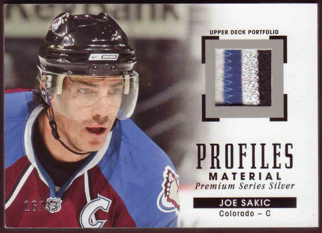 2015-16 Upper Deck Portfolio Profiles Materials Silver Joe Sakic #PM-JS card front image