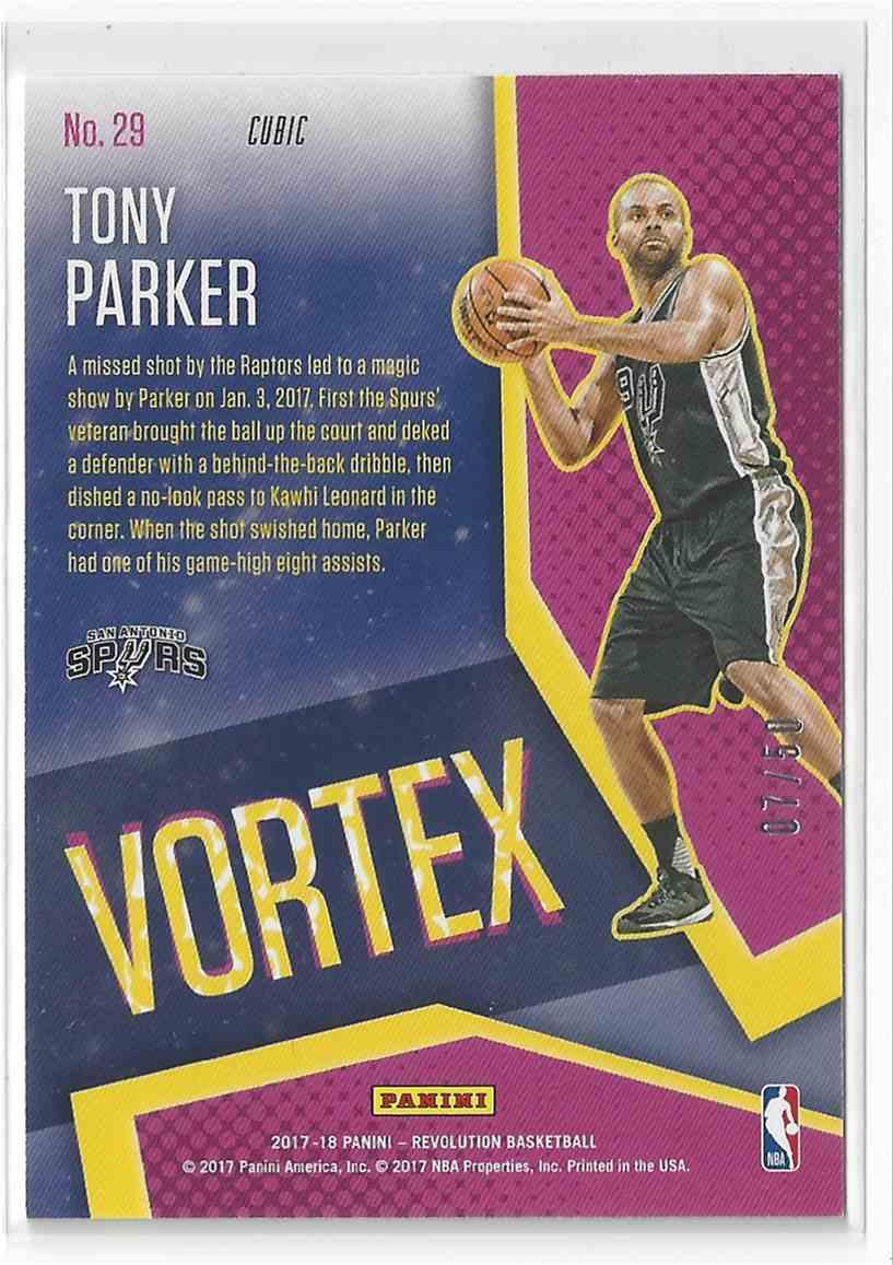 ef465472aab Real card back image 2017-18 Panini Revolution Cubic Vortex Insert #29 Tony  Parker 7/50!