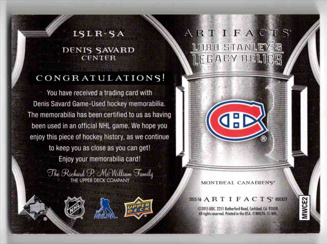 2015-16 Upper Deck Artifacts Lord Stanley's Legacy Relics Gold Denis Savard #LSLR-SA card back image