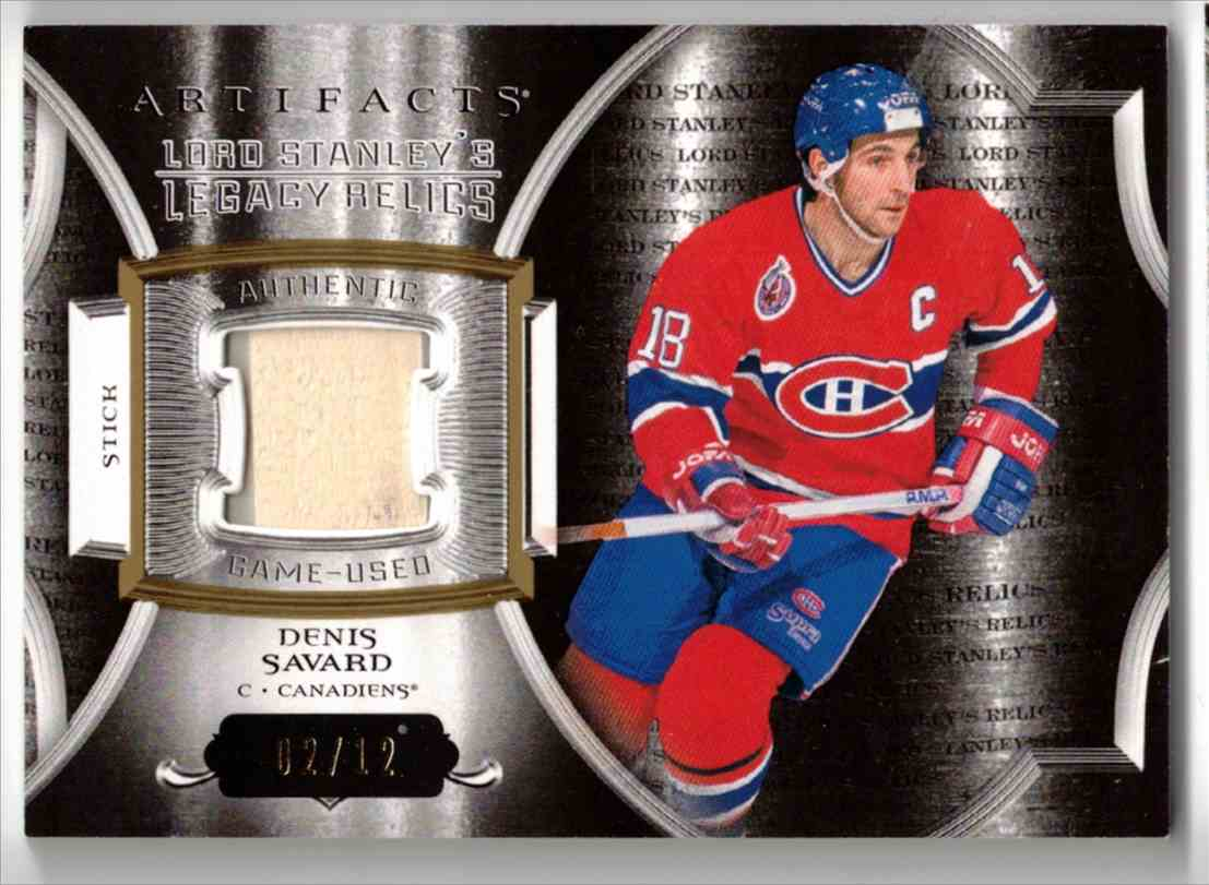 2015-16 Upper Deck Artifacts Lord Stanley's Legacy Relics Gold Denis Savard #LSLR-SA card front image