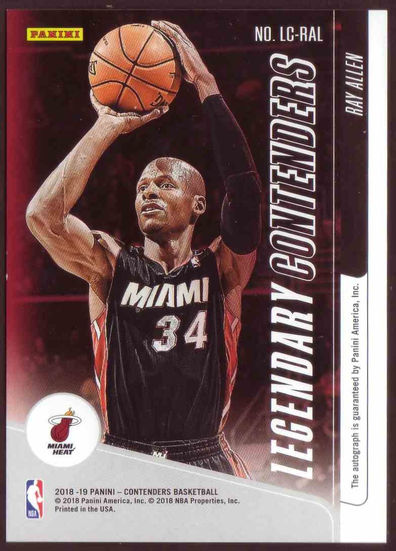 2018-19 Panini Contenders Legendary Contenders Autographs Ray Allen #LC-RAL card back image