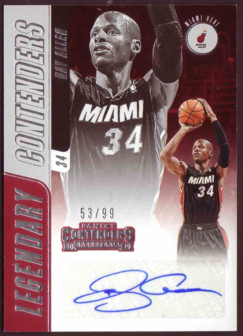 2018-19 Panini Contenders Legendary Contenders Autographs Ray Allen #LC-RAL card front image