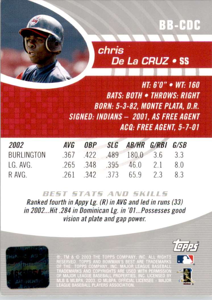 2003 Bowman's Best Chris De La Cruz Fy Au RC #BBCDC card back image