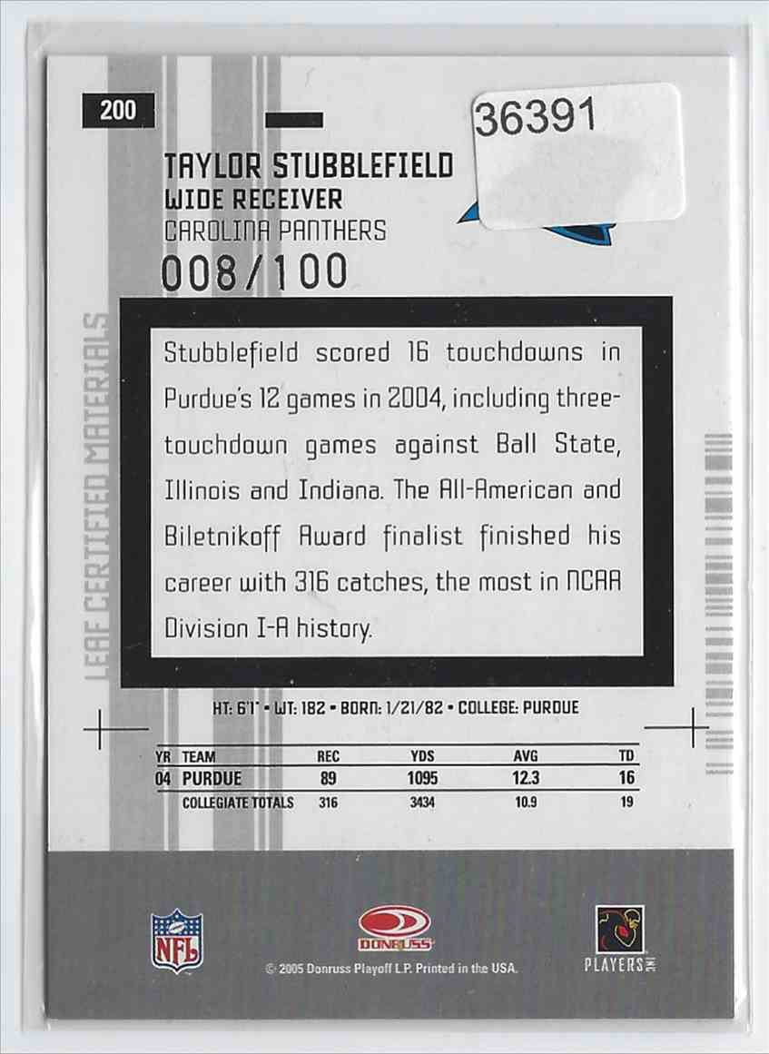 2005 Leaf Certified Materials Mirror Red Taylor Stubblefield #200 card back image