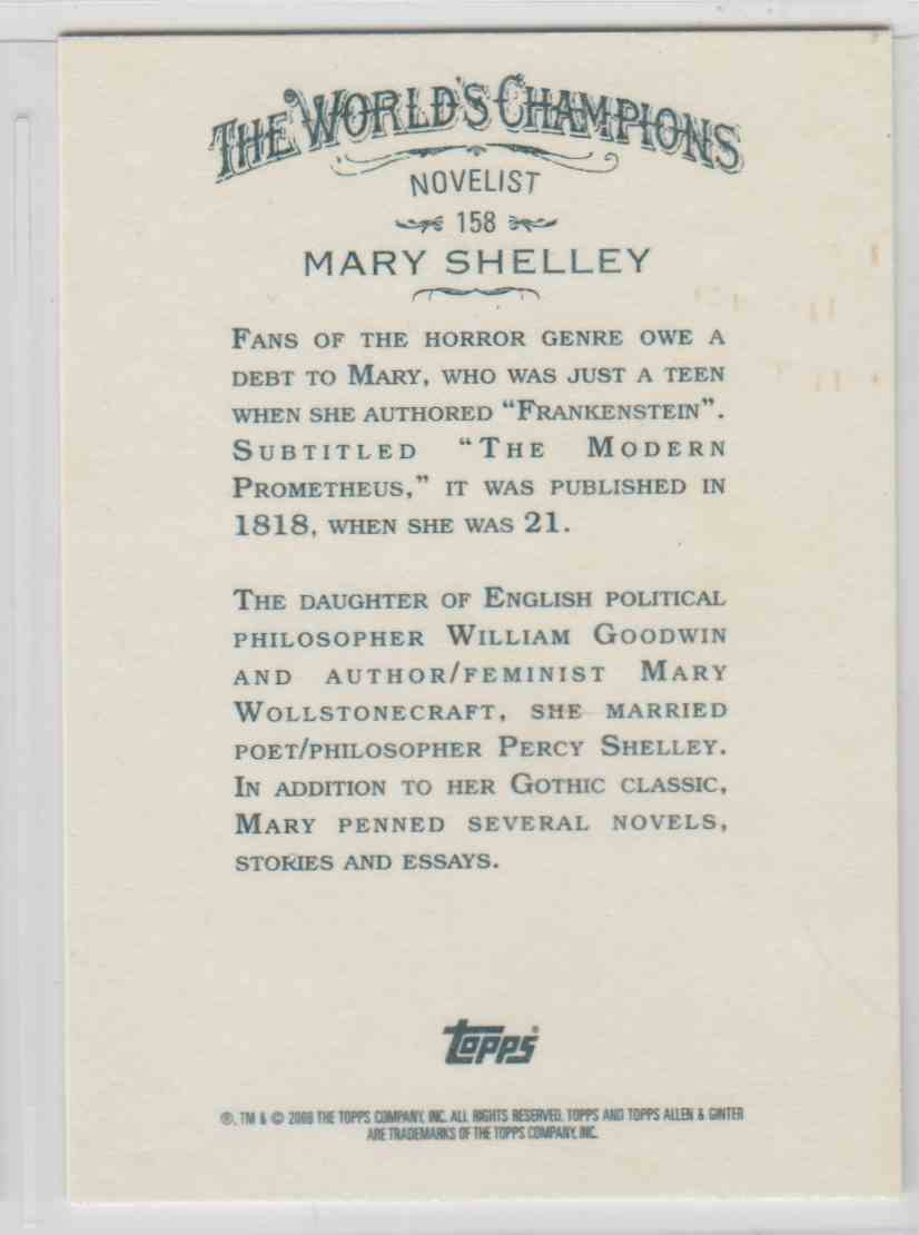 2008 Topps Allen And Ginter Mary Shelley #158 card back image