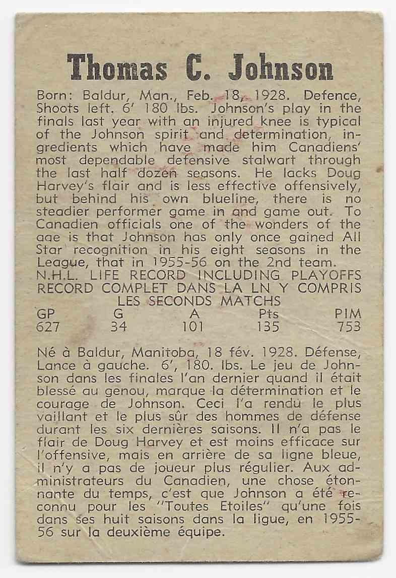 1958-59 Parkhurst Tom Johnson #10 card back image