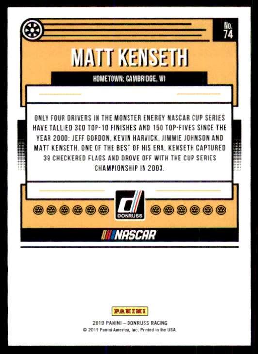 2019 Panini Donruss Racing Silver Matt Kenseth #74 card back image