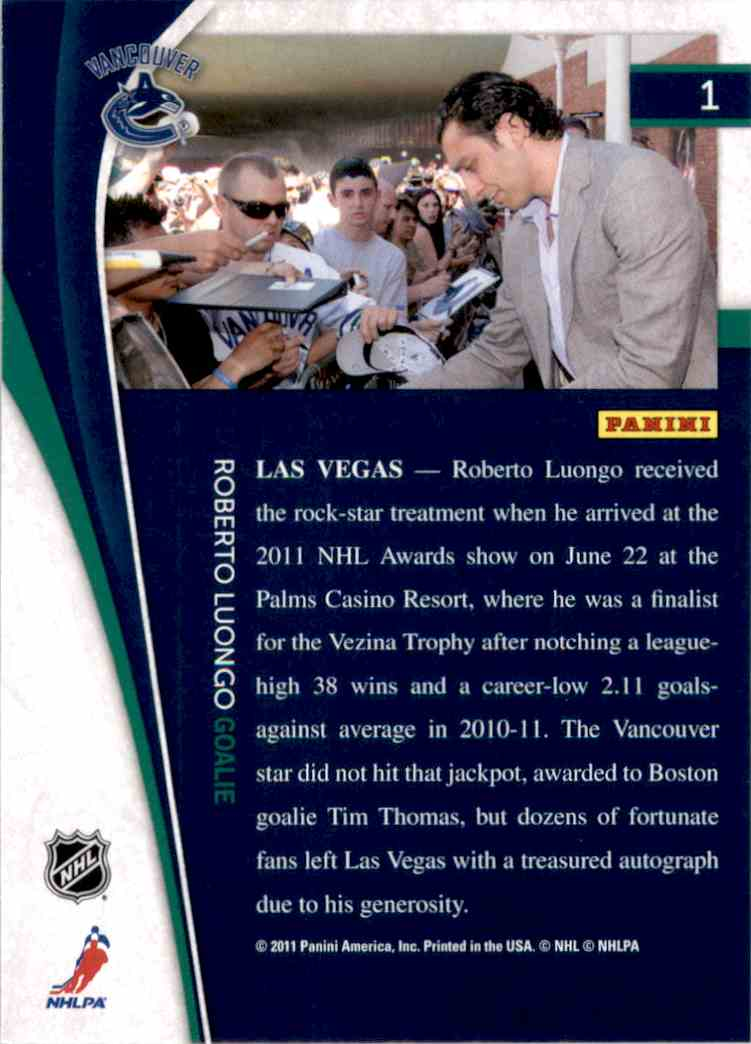 2011-12 Pinnacle Roberto Luongo #1 card back image