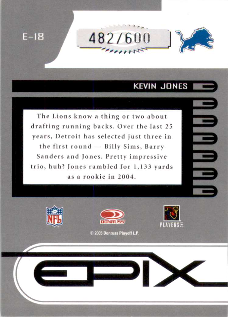 2005 Zenith Epix Blue 1st Down Kevin Jones #E18 card back image