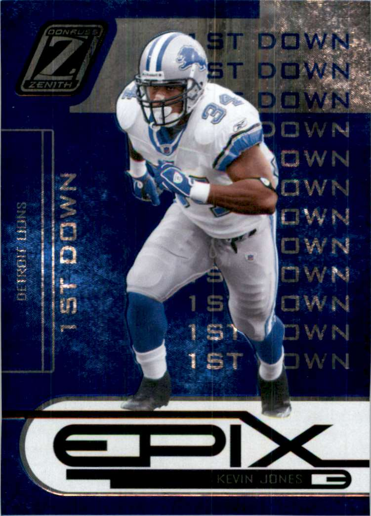 2005 Zenith Epix Blue 1st Down Kevin Jones #E18 card front image