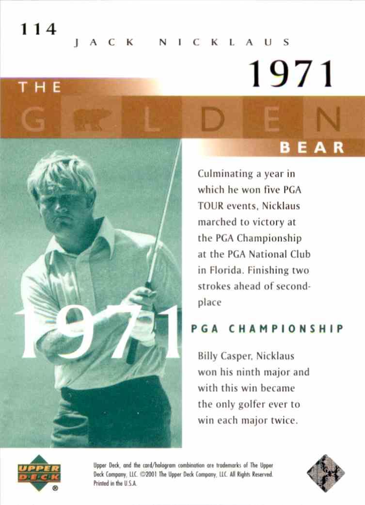 2001 Upper Deck J.Nicklaus Gb 71 PGA #114 card back image