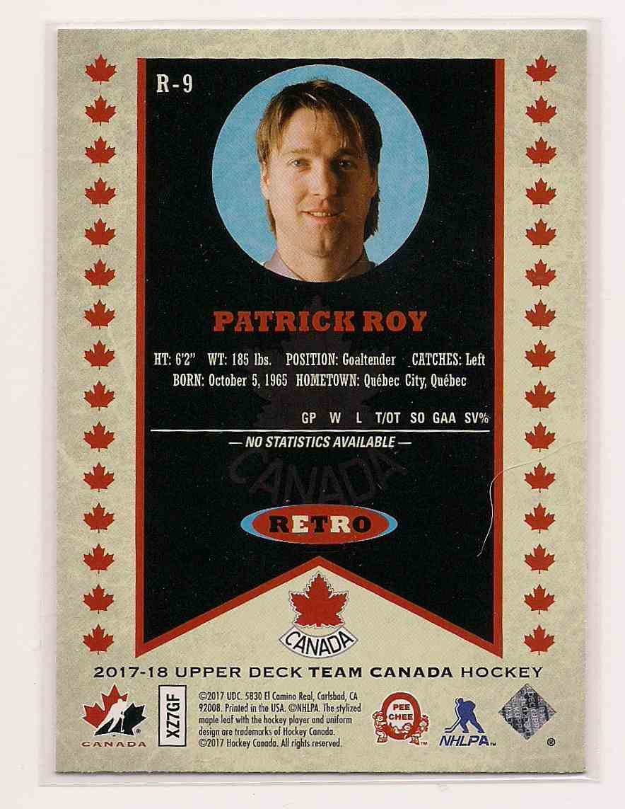 2017-18 Upper Deck Team Canada Retro Patrick Roy #R-9 card back image