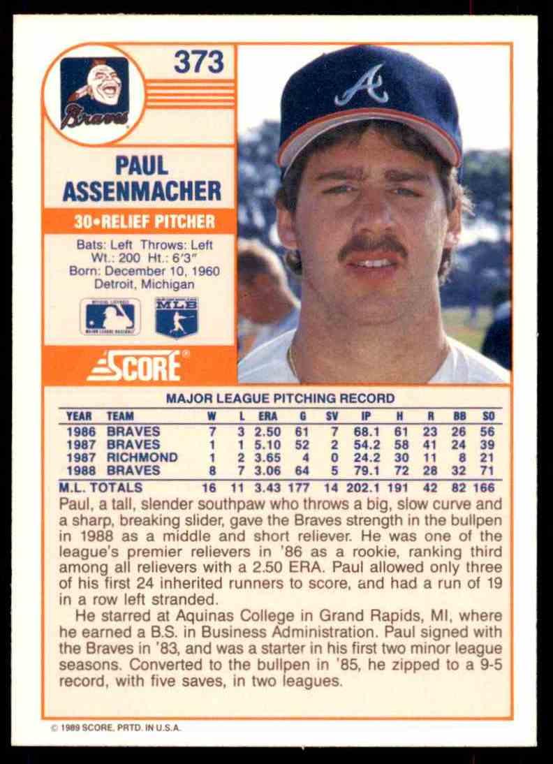 1989 Score Regular Paul Assenmacher #373 card back image
