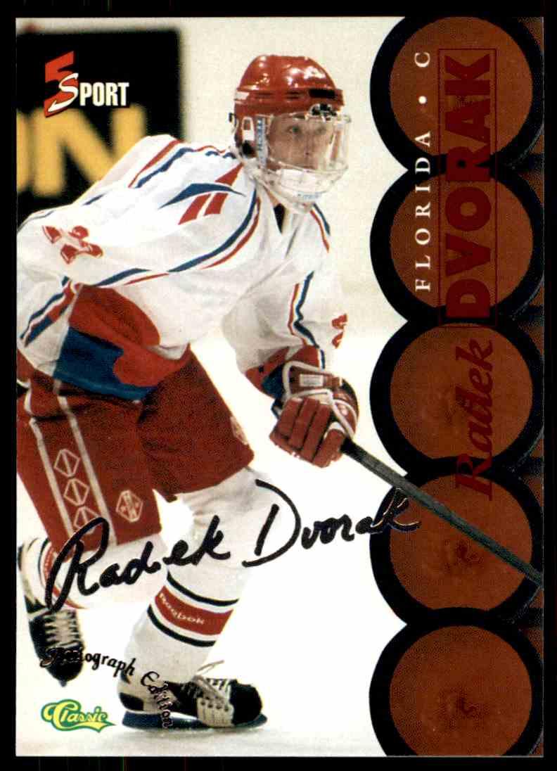 1995-96 Classic Five Sport Signings Red Signature Radek Dvorak #S76 card front image