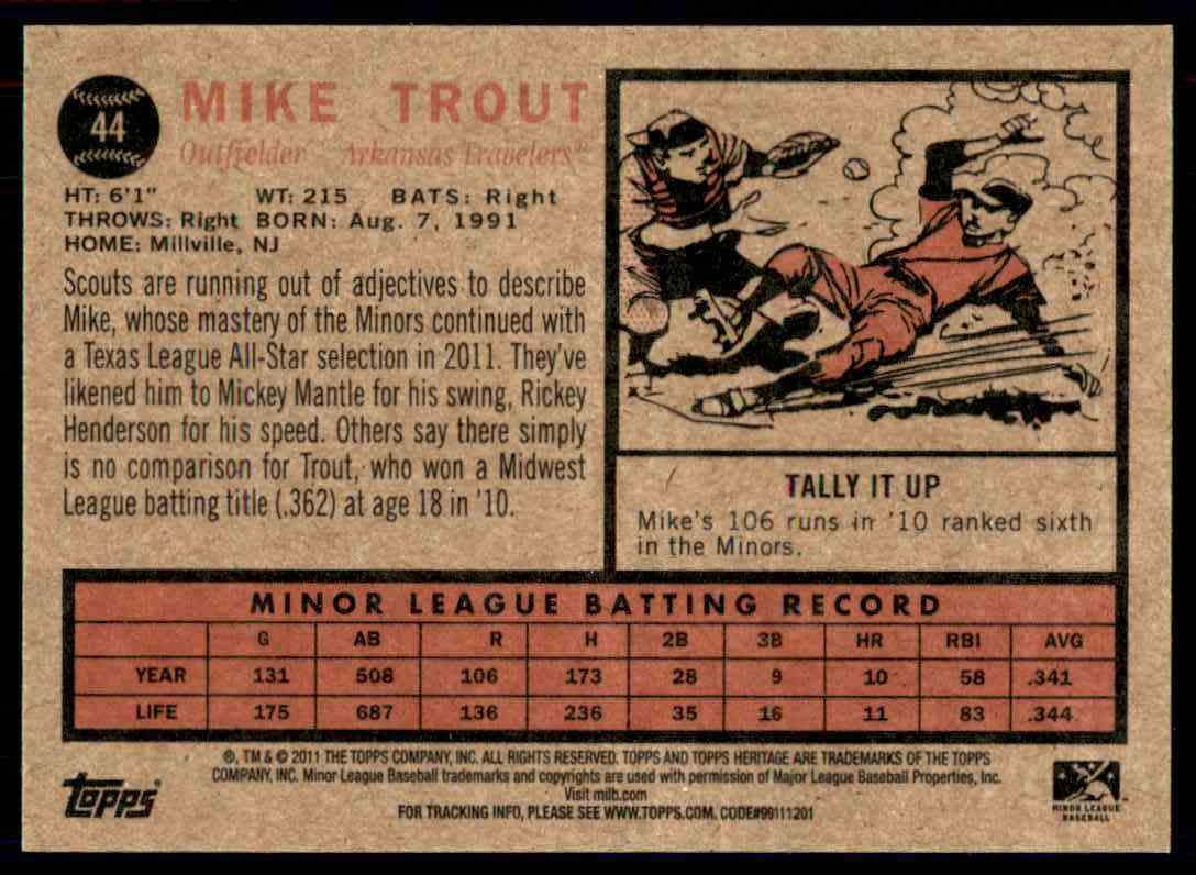 2011 Topps Heritage Minors Regular Mike Trout #44 card back image