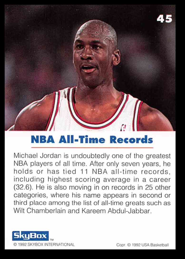 finest selection 519fc cfd2f Real card back image 1992-93 Skybox USA Michael Jordan Basketball Card  45  card back image