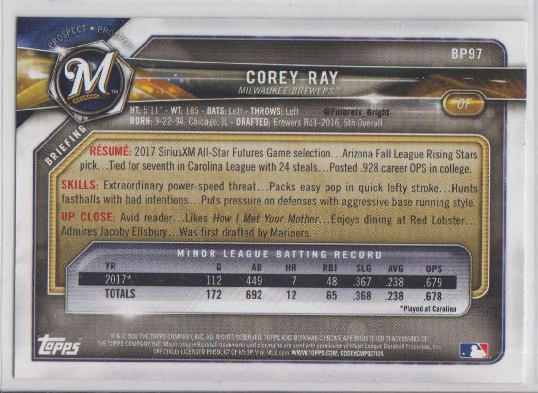2018 Bowman Prospects Corey Ray #BP97 card back image