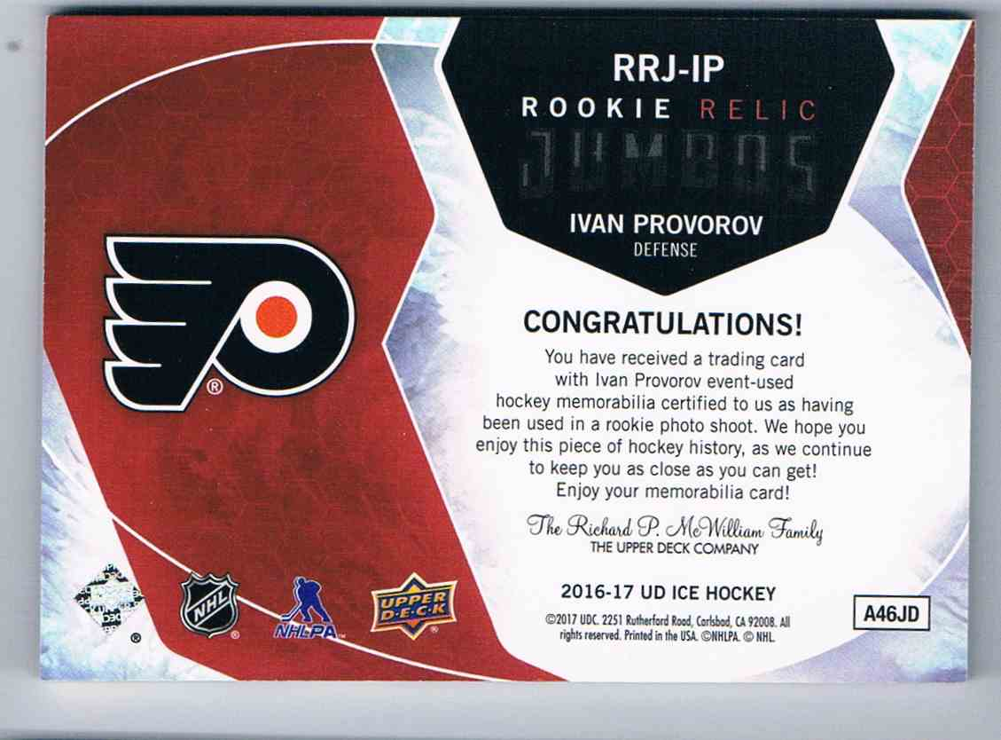 2016-17 Upper Deck Ice Rookie Relic Jumbos Ivan Provorov #RRJ-IP card back image