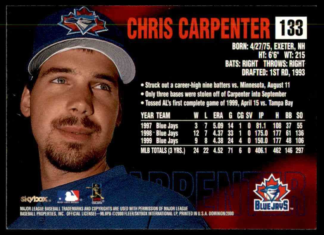 2000 SkyBox Dominion Chris Carpenter #133 card back image