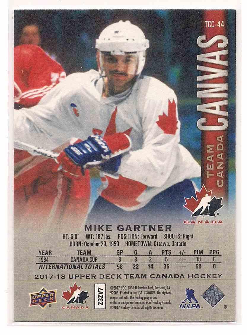 2017-18 Upper Deck Team Canada Canvas Mike Gartner #TCC-44 card back image