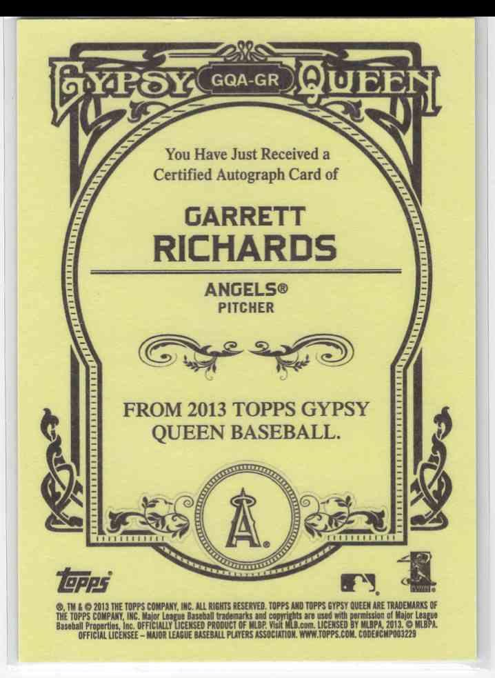2013 Topps Gypsy Queen Garrett Richards #GQA-GR card back image