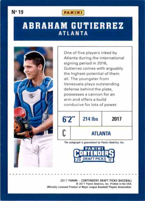2017 Panini Contenders Draft Picks Prospect Ticket Autographs Abraham Gutierrez #19 card back image