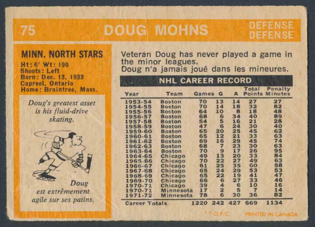 1972-73 O-Pee-Chee Doug Mohns #75 card back image