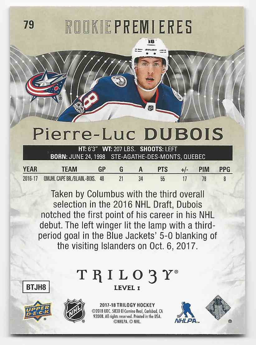 2017-18 Upper Deck Trilogy Pierre-Luc Dubois #79 card back image