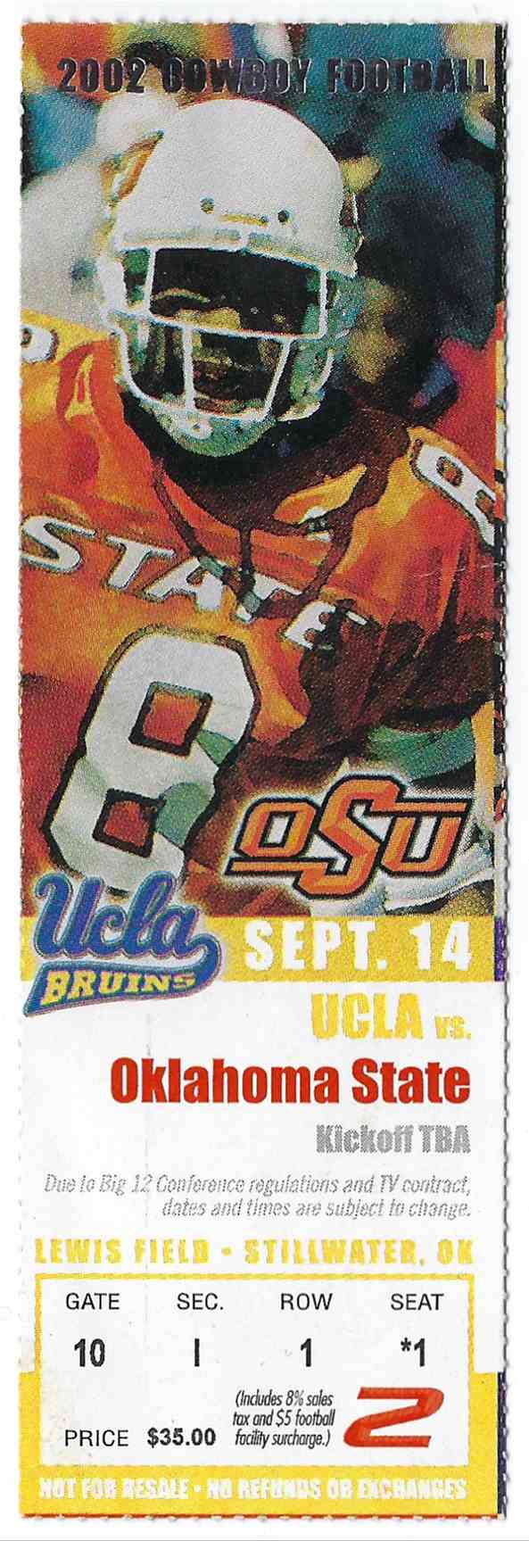 2002 College Football Ticket Stub Ucla Vs Oklahoma State card front image