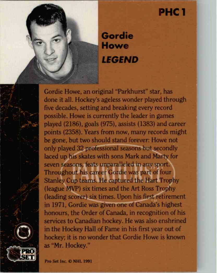 1991-92 Pro Set Parkhurst Gordie Howe #PHC1 card back image
