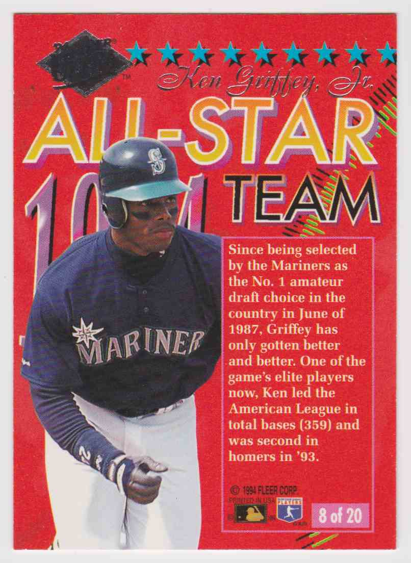 26cd74a8c4 Real card back image 1994 Fleer Ultra All-Star Ken Griffey JR #8 card back  image