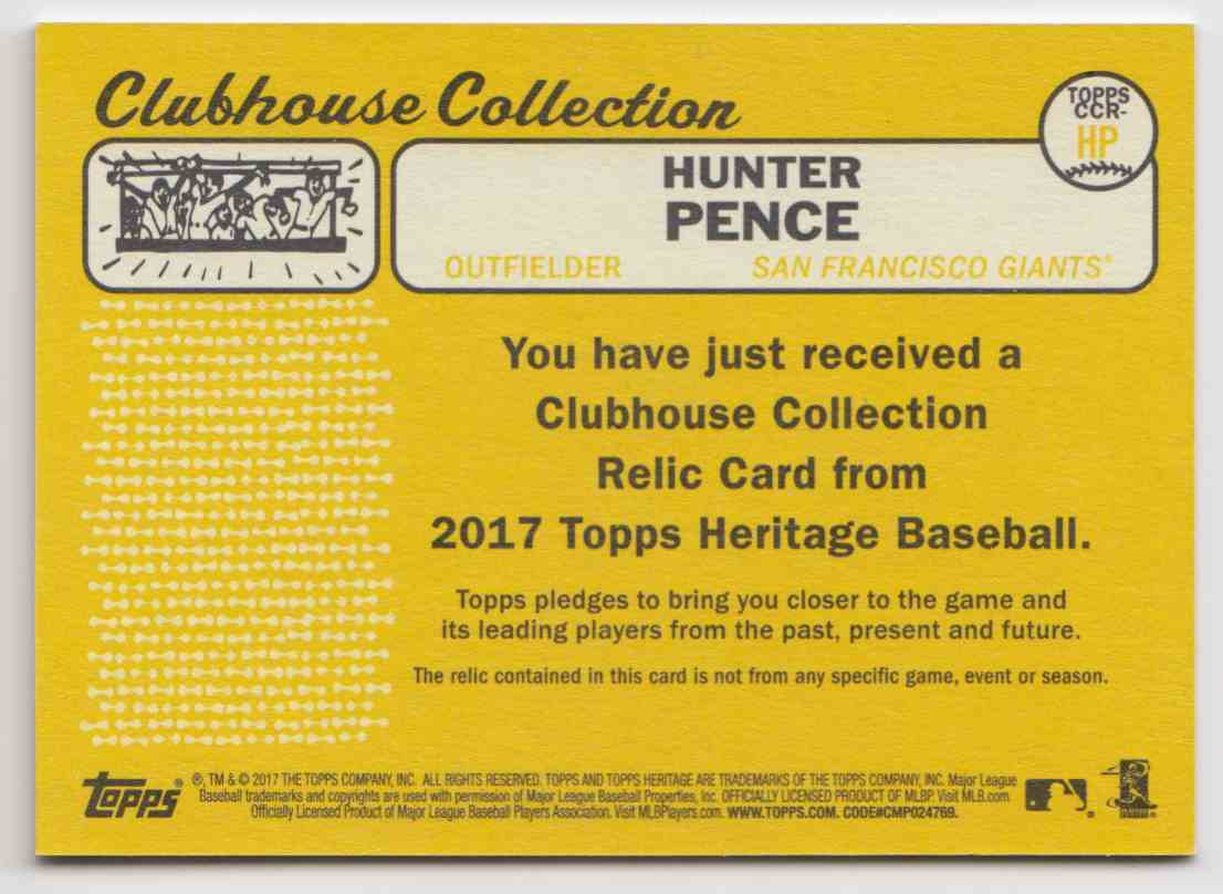 2017 Topps Heritage High Clubhouse Collection Relics Hunter Pence #CCR-HP card back image