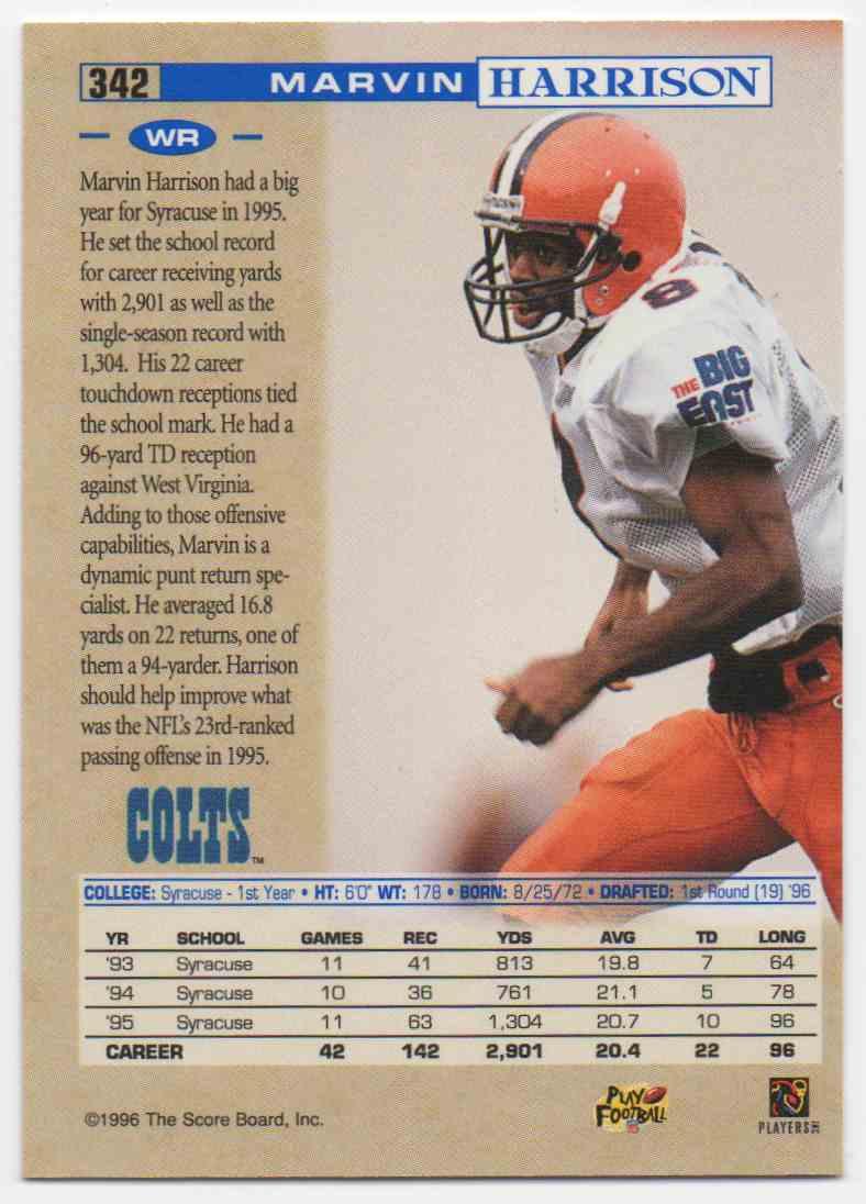 1996 Pro Line Marvin Harrison #342 card back image