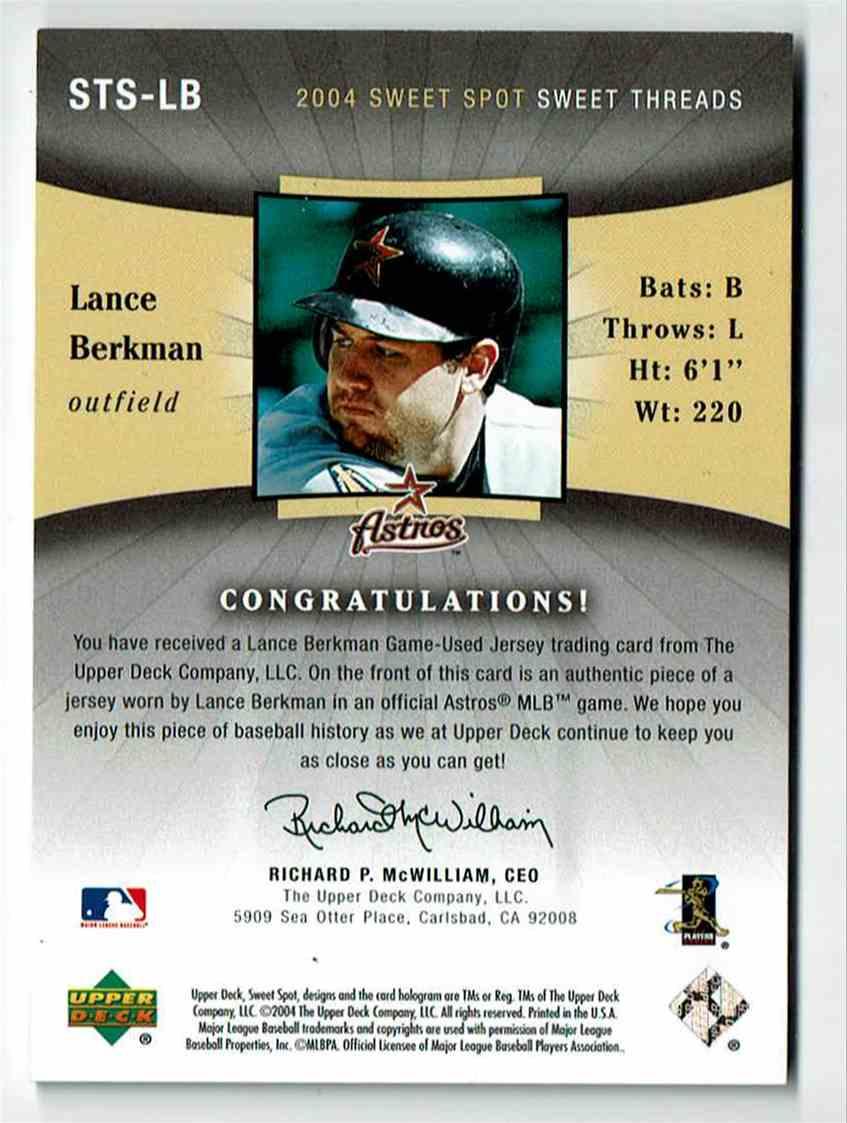 2004 Upper Deck Sweet Spot Lance Berkman #LB card back image
