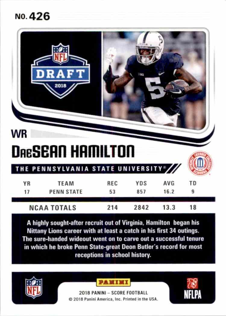 2018 Panini Score DreSean Hamilton #426 card back image