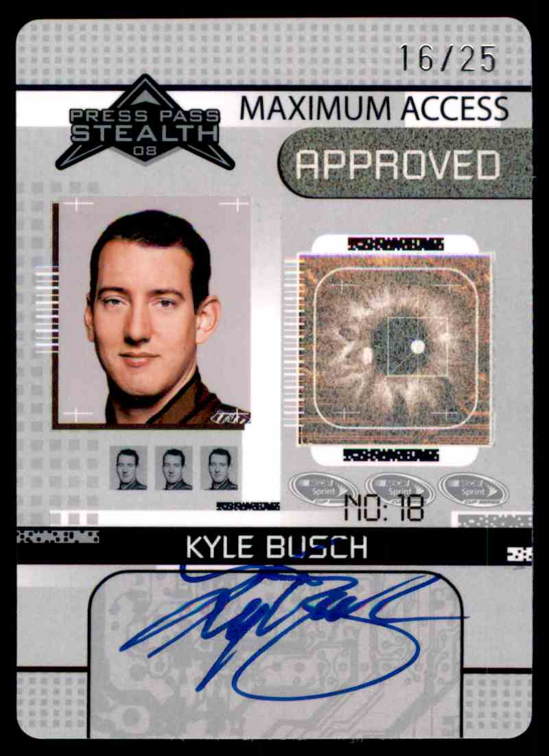 2008 Press Pass Stealth Maximum Access Autographs Kyle Busch #MA KYB card front image
