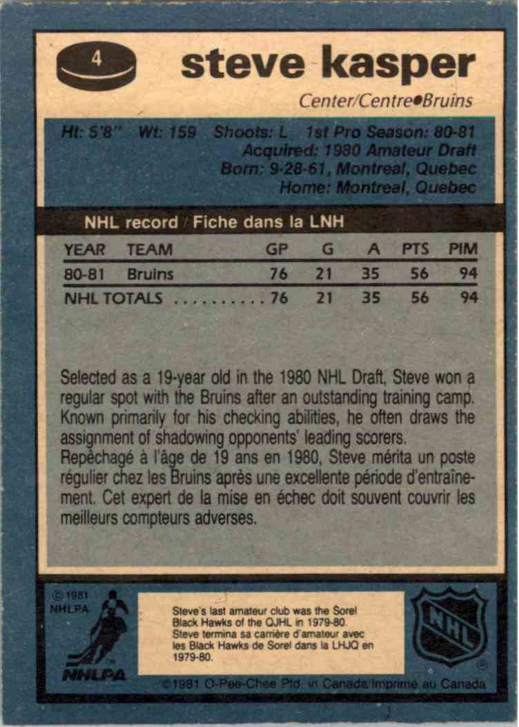 1981-82 O-Pee-Chee Steve Kasper #4 card back image