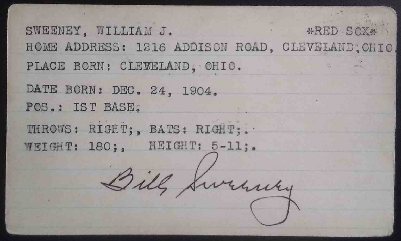1928 3X5 Bill Sweeney card back image