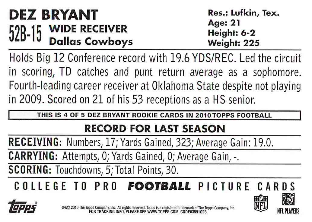 2010 Topps 1952 Bowman Dez Bryant 52b 15 On Kronozio