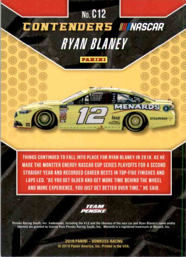 2019 Donruss Contenders Ryan Blaney #C12 card back image