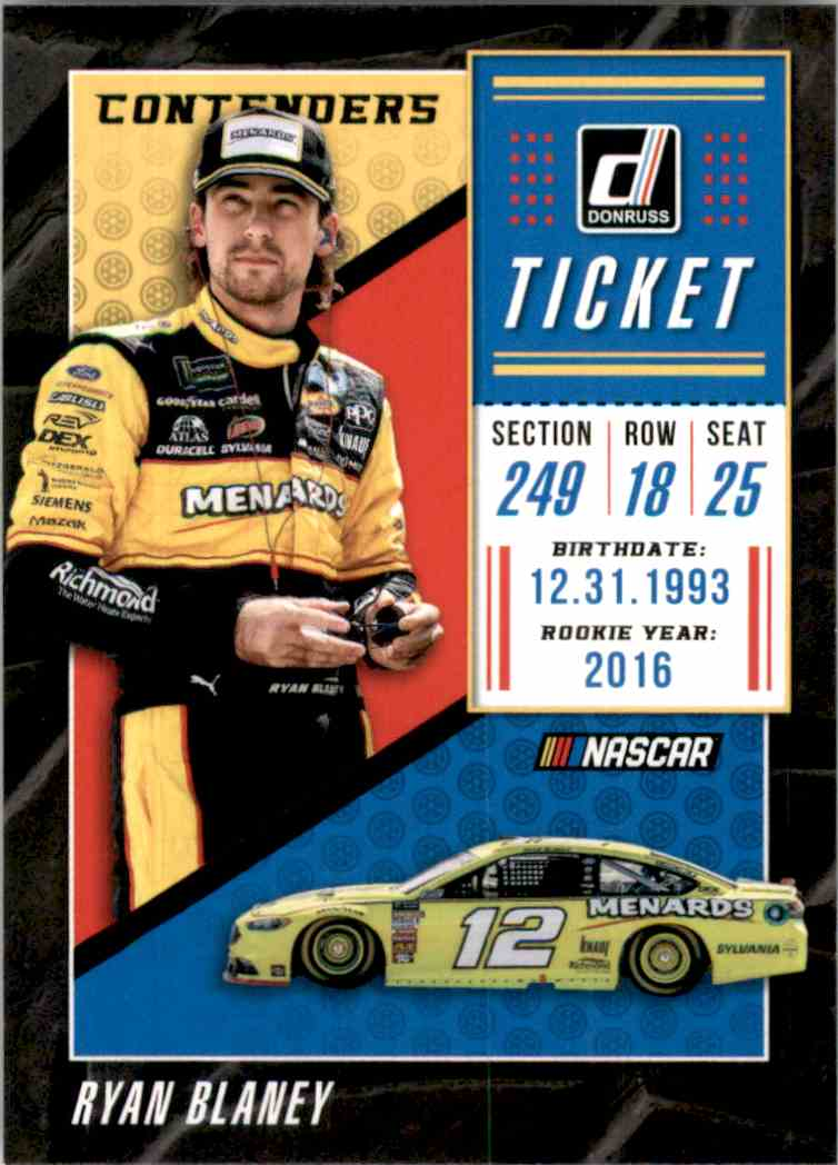 2019 Donruss Contenders Ryan Blaney #C12 card front image