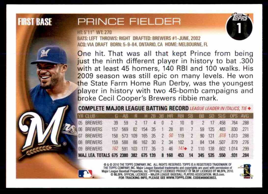 2010 Topps Prince Fielder #1 card back image