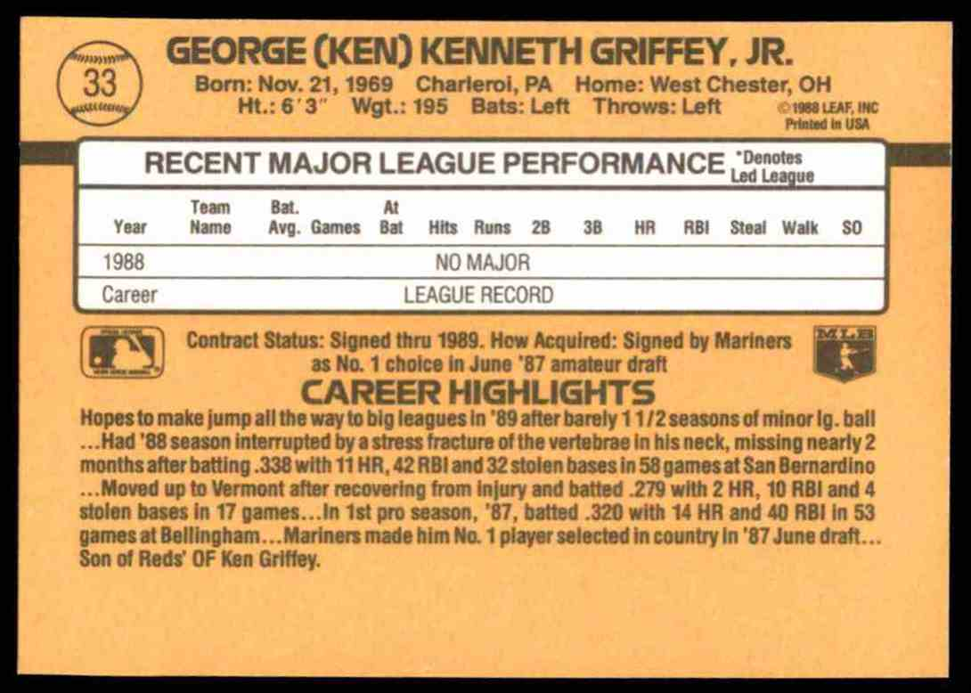 1989 Donruss Ken Griffey, JR. #33 card back image