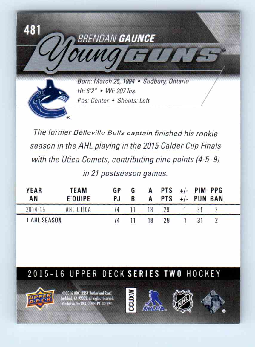 2015-16 Upper Deck Young Guns Brendan Gaunce #481 card back image
