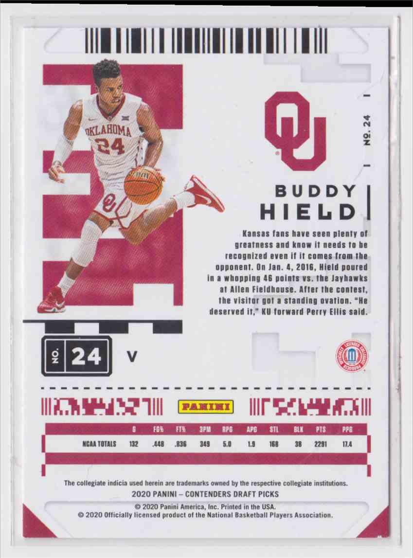 2020-21 Panini Contenders Draft Picks Prospect Ticket Buddy Hield #24 card back image