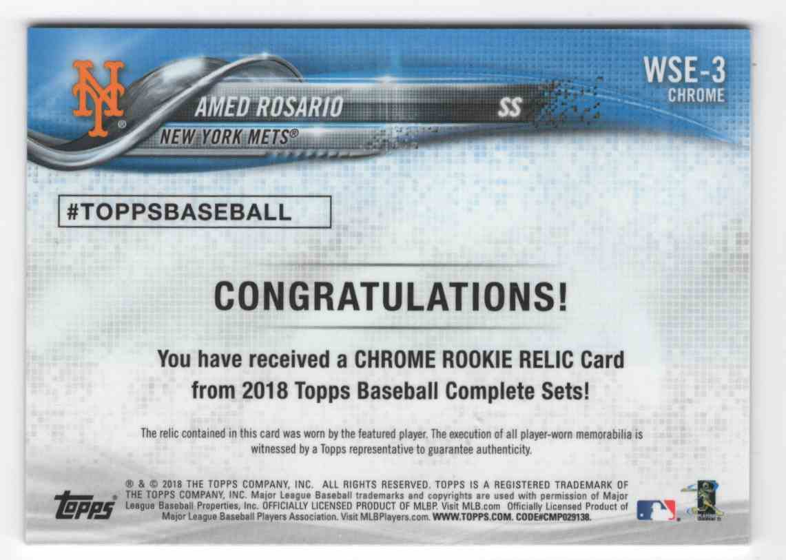 2018 Topps Chrome Rookie Relics Amed Rosario #WSE3 card back image